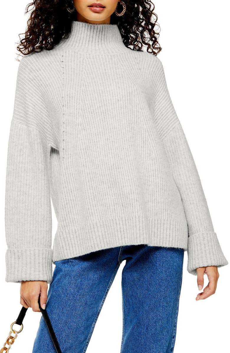 TOPSHOP Supersoft Wide Sleeve Turtleneck Sweater, Main, color, GREY MARL