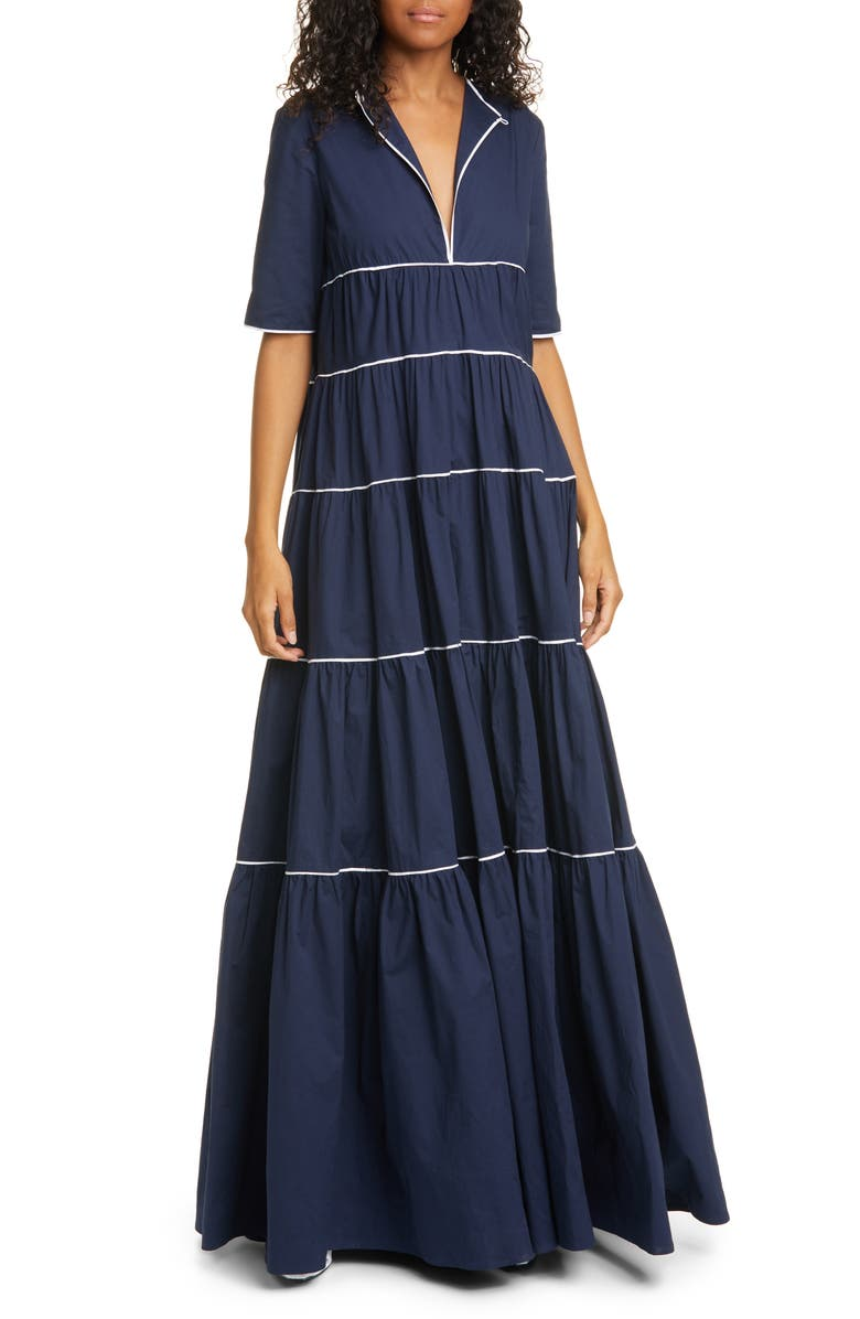 STAUD Cocoon Tiered Stretch Poplin Maxi Dress, Main, color, 400
