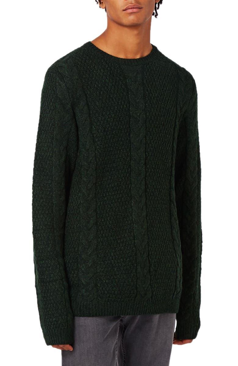 TOPMAN Cable Knit Crewneck Sweater, Main, color, 300