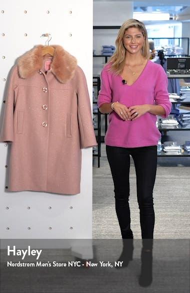 metallic wool blend twill coat with detachable faux fur collar, sales video thumbnail