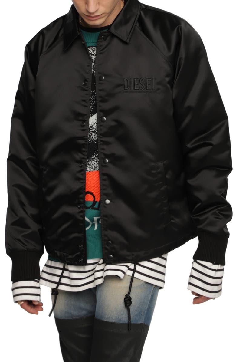 DIESEL<SUP>®</SUP> J-AKIO Logo Embroidered Jacket, Main, color, BLACK