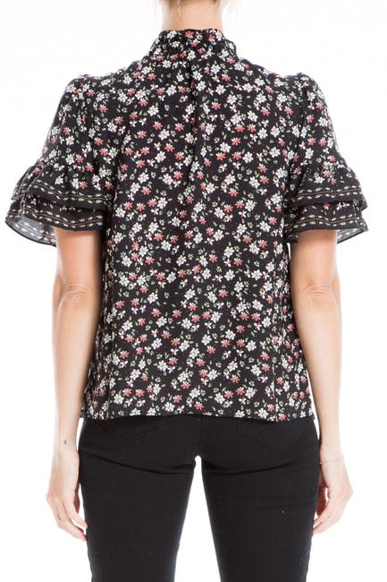 Image of Max Studio Floral Tiered Sleeve Top