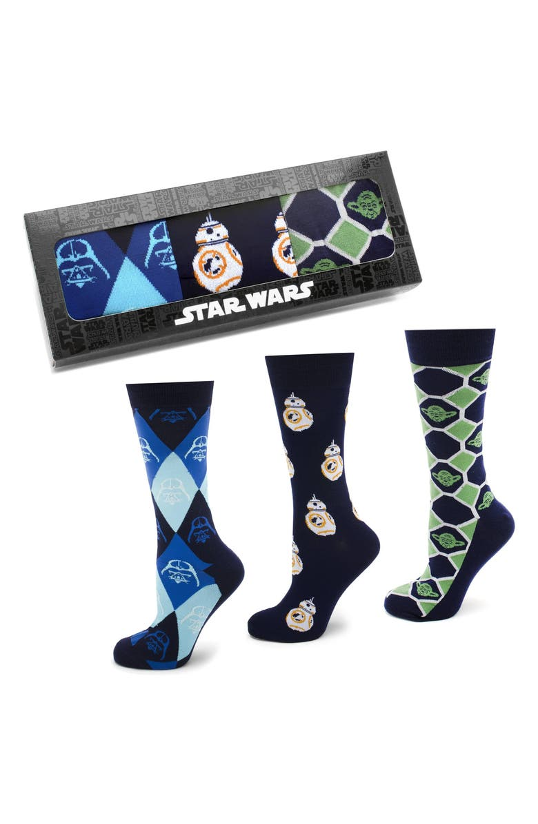 CUFFLINKS, INC. 'Star Wars' 3-Pack Socks, Main, color, BLUE