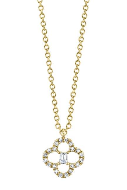 Image of Ron Hami 14K Yellow Gold Diamond & Baguette Cut Clover Pendant Necklace - 0.11 ctw