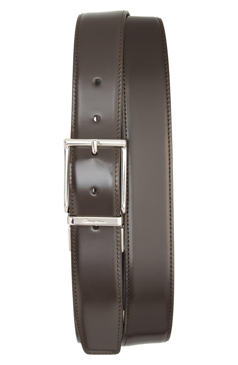 SANTONI D-Fax Reversible Leather Belt, Main, color, 200