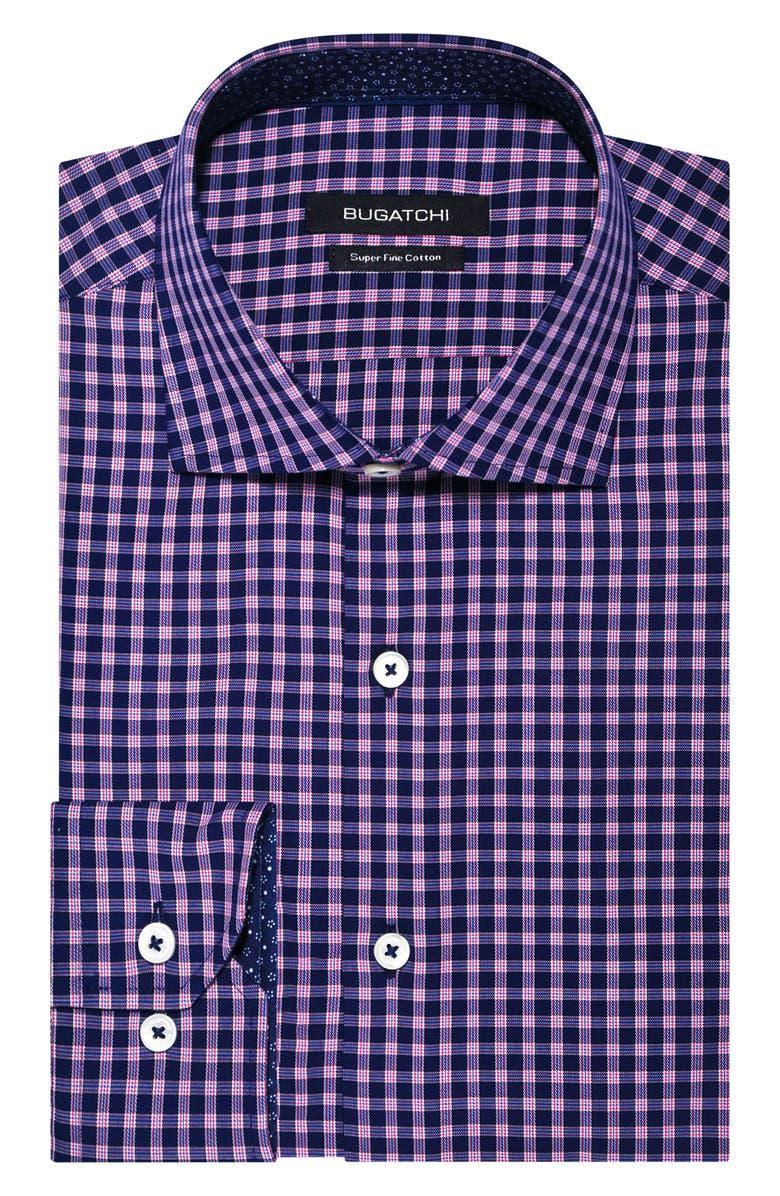 BUGATCHI Trim Fit Stretch Check Dress Shirt, Main, color, MIDNIGHT