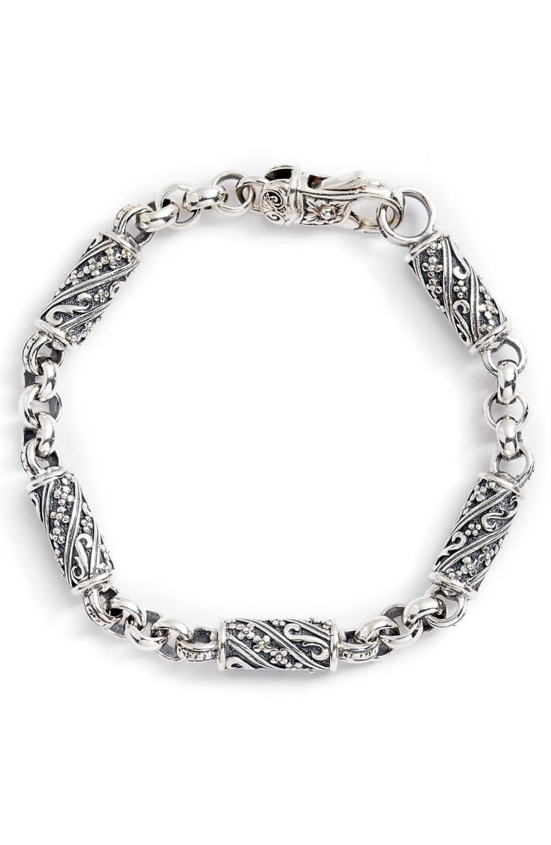 KONSTANTINO Trillion Etched Barrel Link Bracelet, Main, color, SILVER