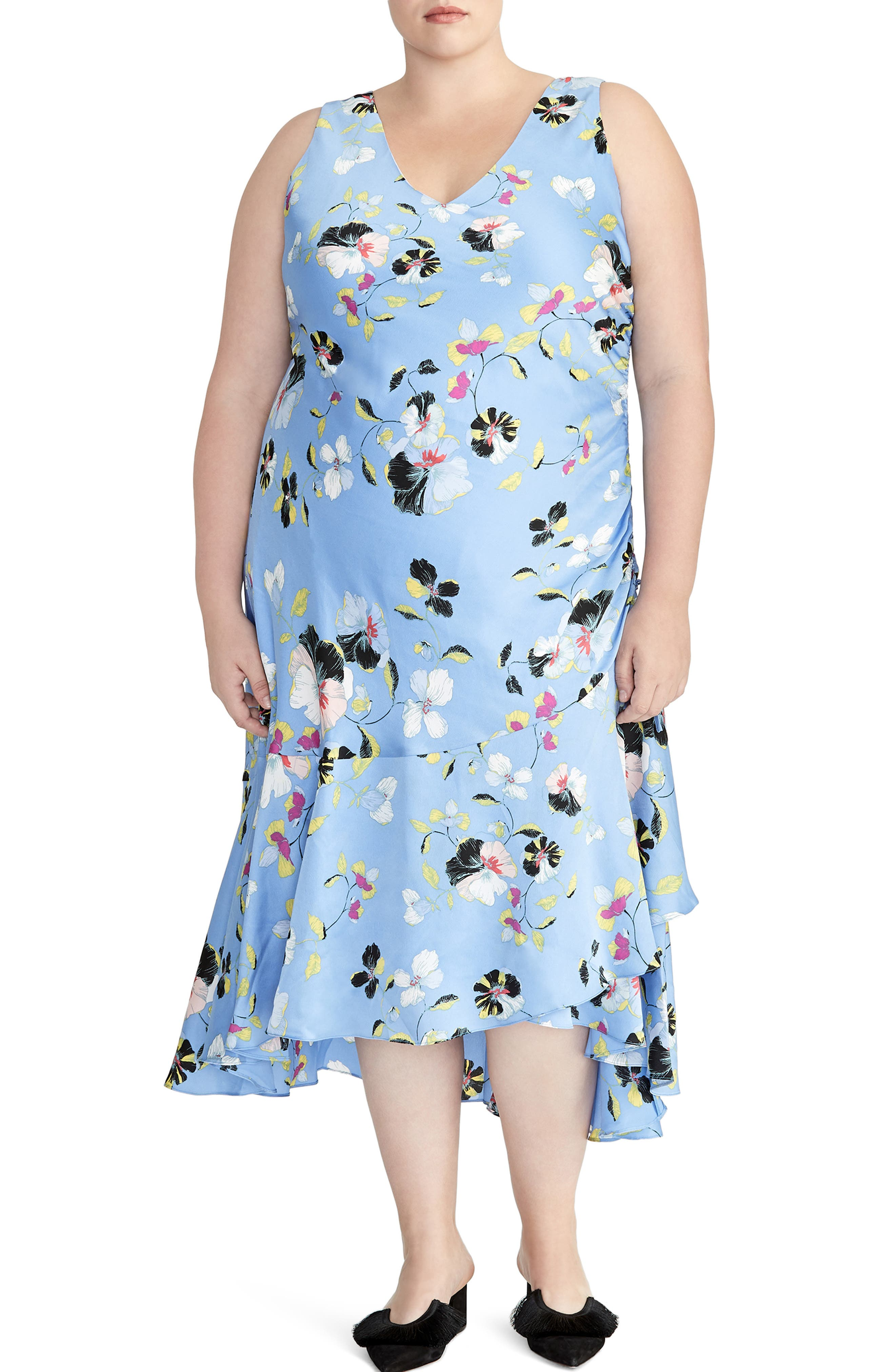1940s Plus Size Fashion: Style Advice from 1940s to Today Plus Size Womens Rachel Roy Collection Orchid Midi Dress Size 24W - Blue $149.00 AT vintagedancer.com
