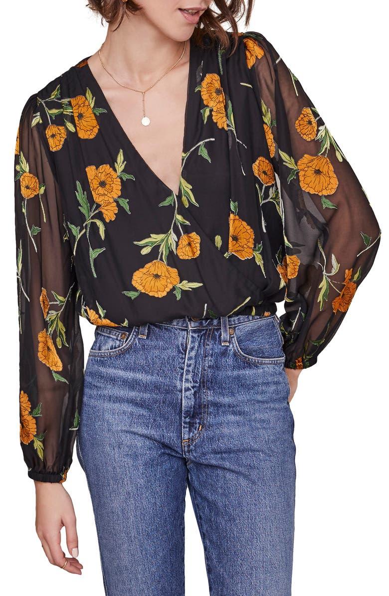 ASTR THE LABEL Shanley Floral Wrap Top, Main, color, ORANGE BLOSSOM FLORAL