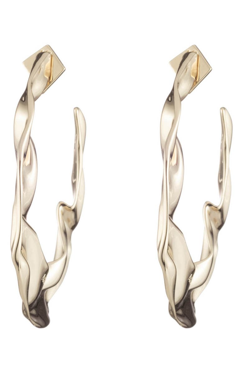 ALEXIS BITTAR Retro Gold Collection Crumpled Hoop Earrings, Main, color, GOLD