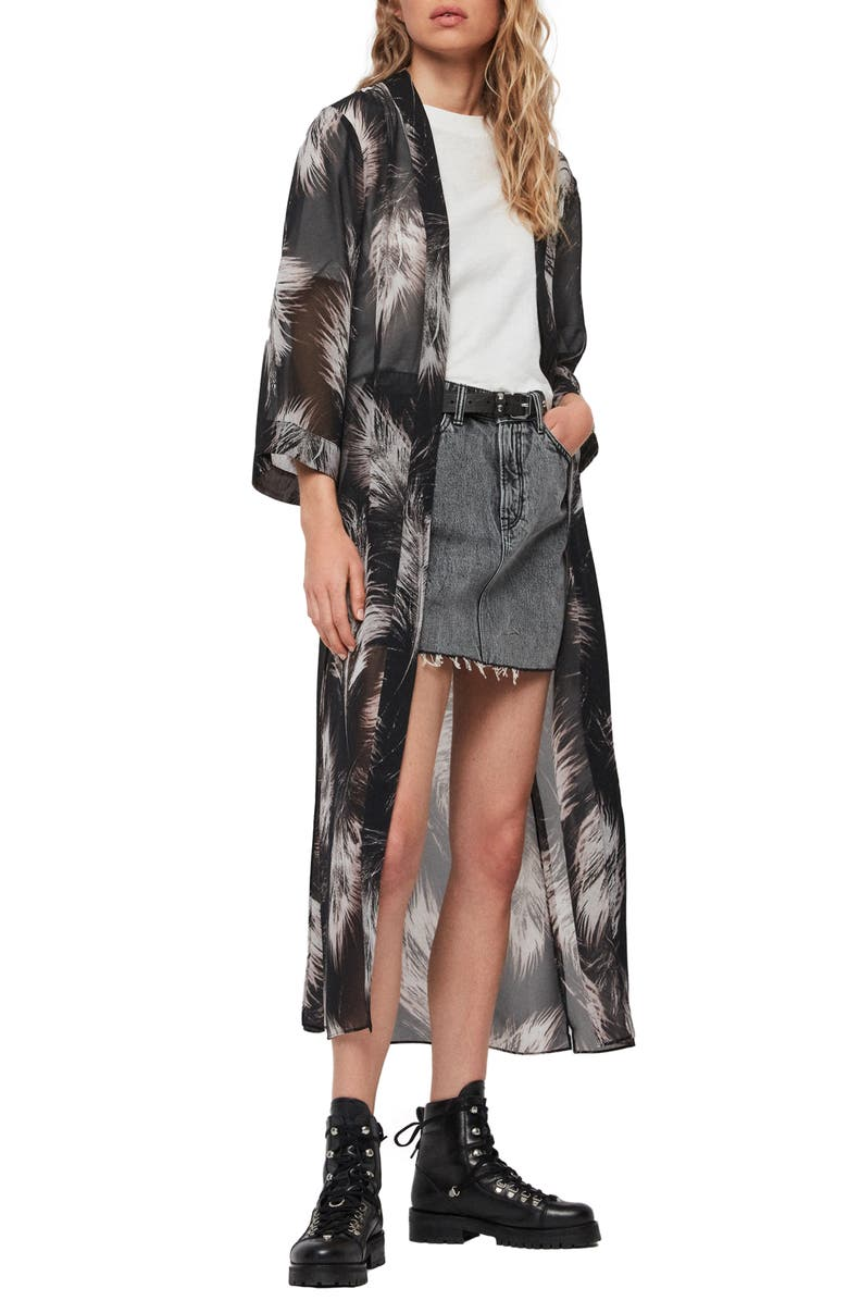 ALLSAINTS Carine Feather Print Duster, Main, color, BLACK