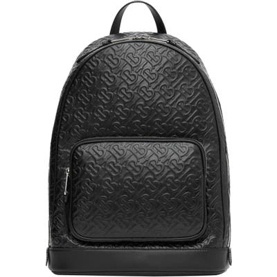 Burberry Rocco Monogram Embossed Leather Backpack - Black