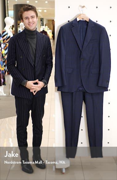 Flynn Classic Fit Windowpane Wool Suit, sales video thumbnail