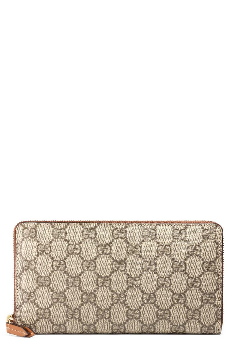 GUCCI Linea GG Supreme Canvas Zip Around Wallet, Main, color, BEIGE EBONY/ CUIR