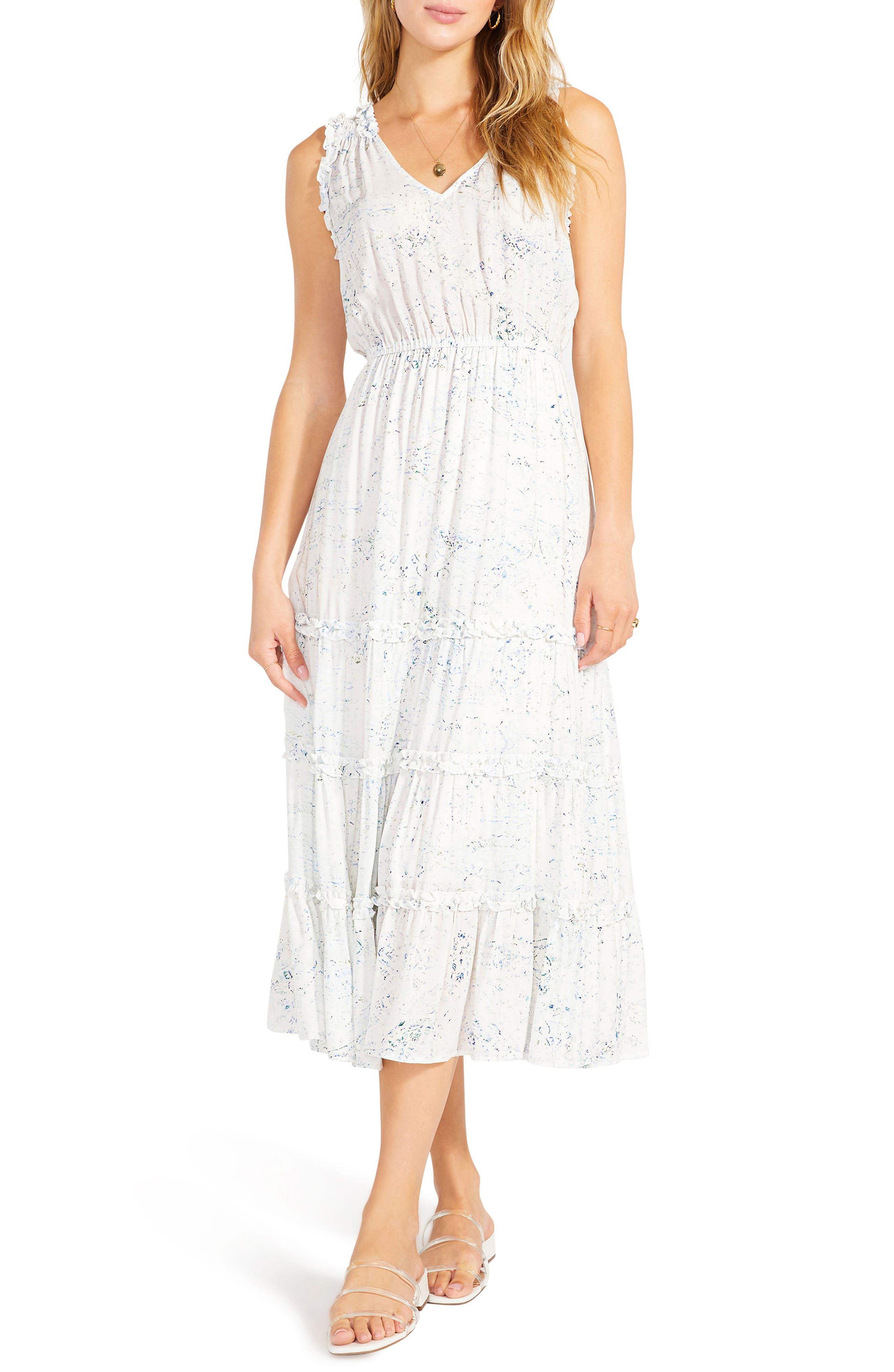 Crystal Clear Print Tiered Midi Dress