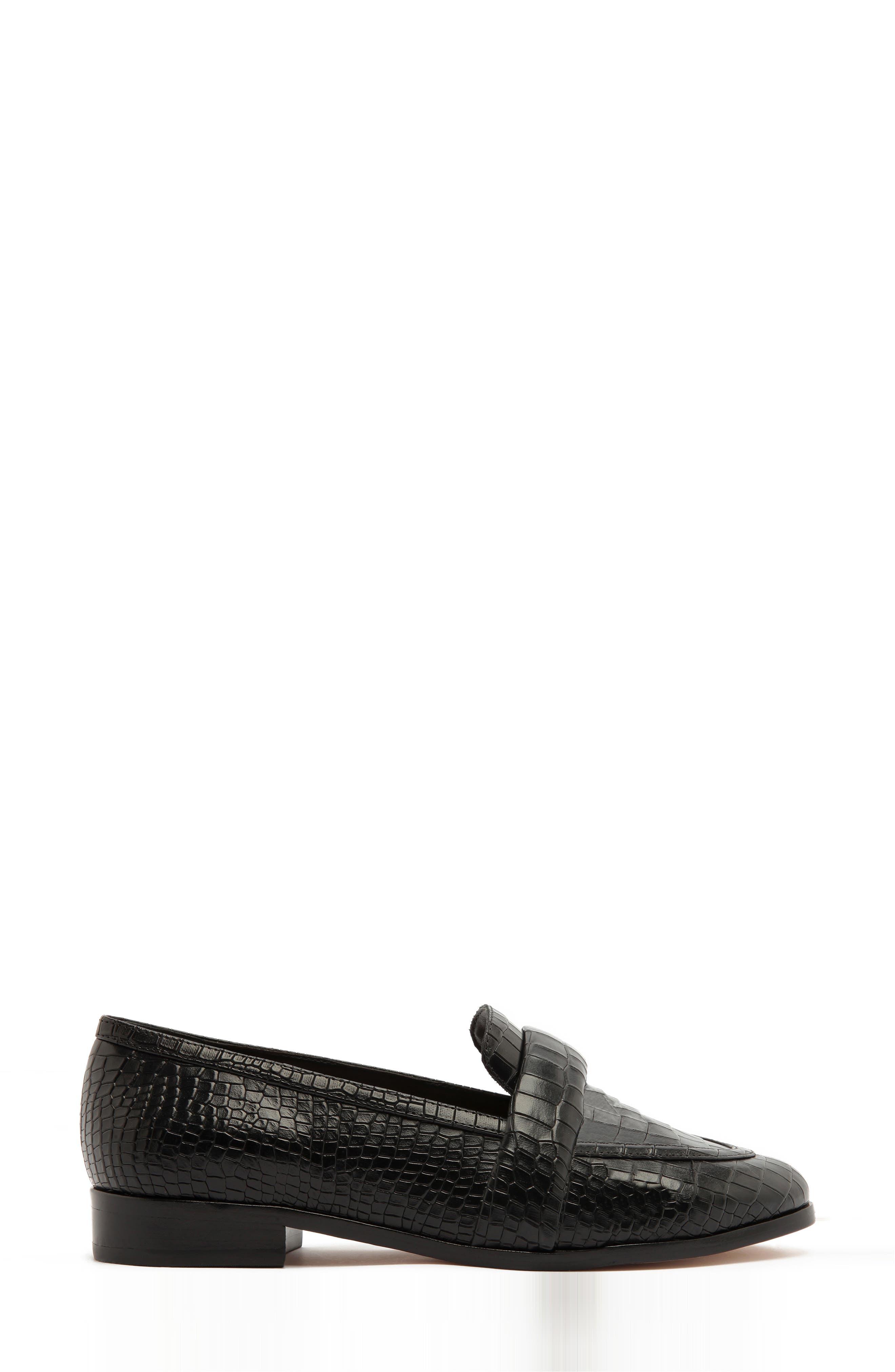 Schutz Flats Romina Croc Embossed Loafer