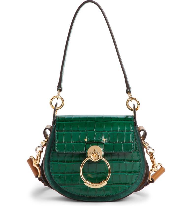 CHLOÉ Small Tess Croc Embossed Calfskin Shoulder Bag, Main, color, WOODSY GREEN