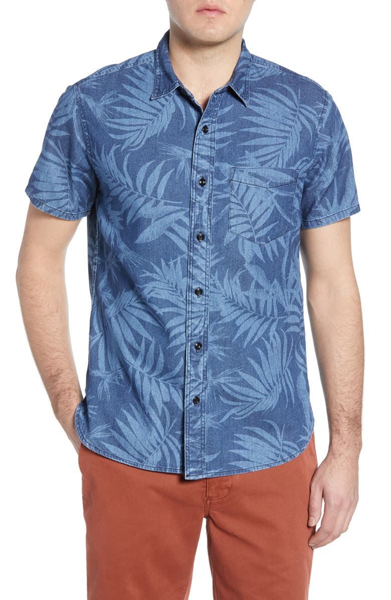 MADEWELL Regular Fit Leaf Print Chambray Shirt, Main, color, TROPICAL INDIGO DISCHARGE