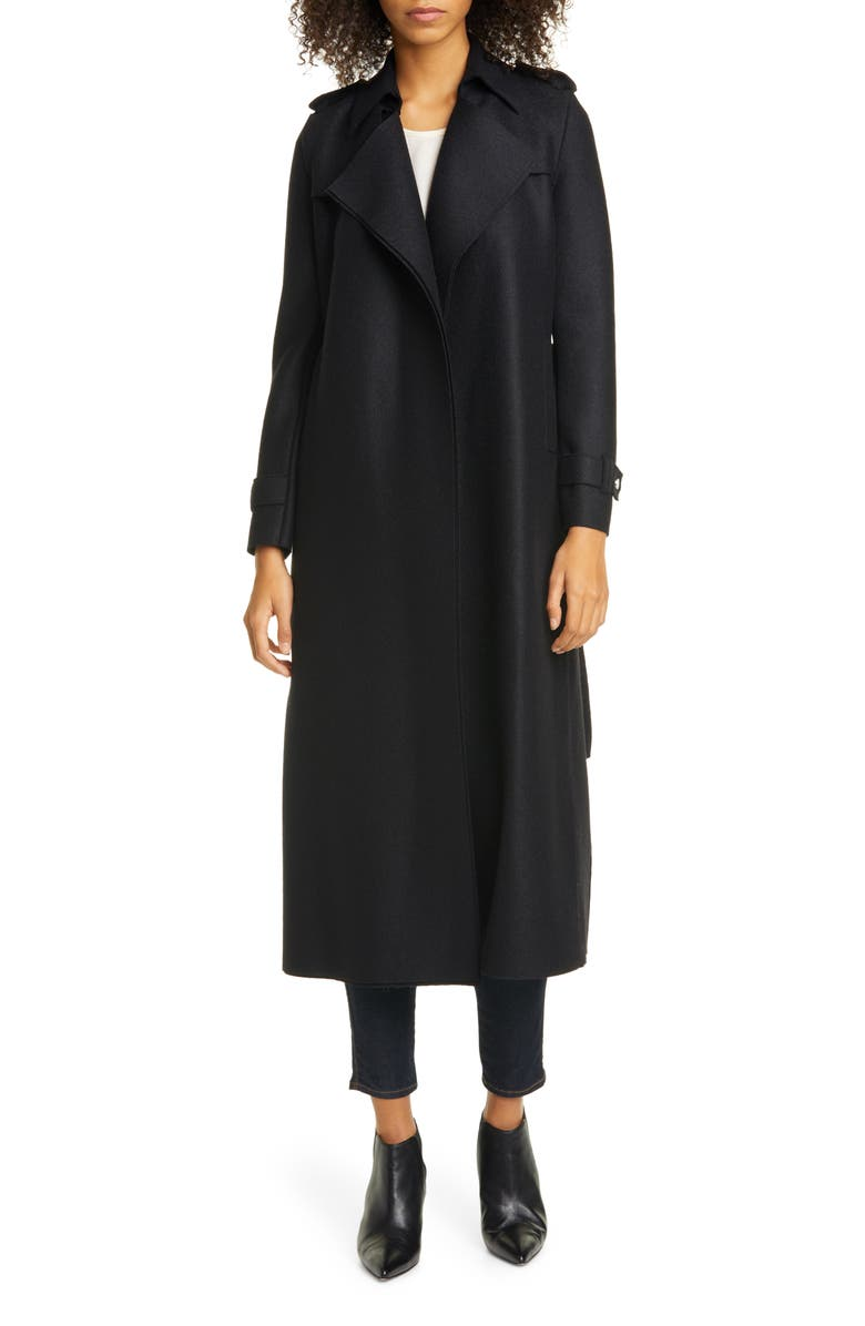 HARRIS WHARF LONDON Long Belted Trench, Main, color, BLACK