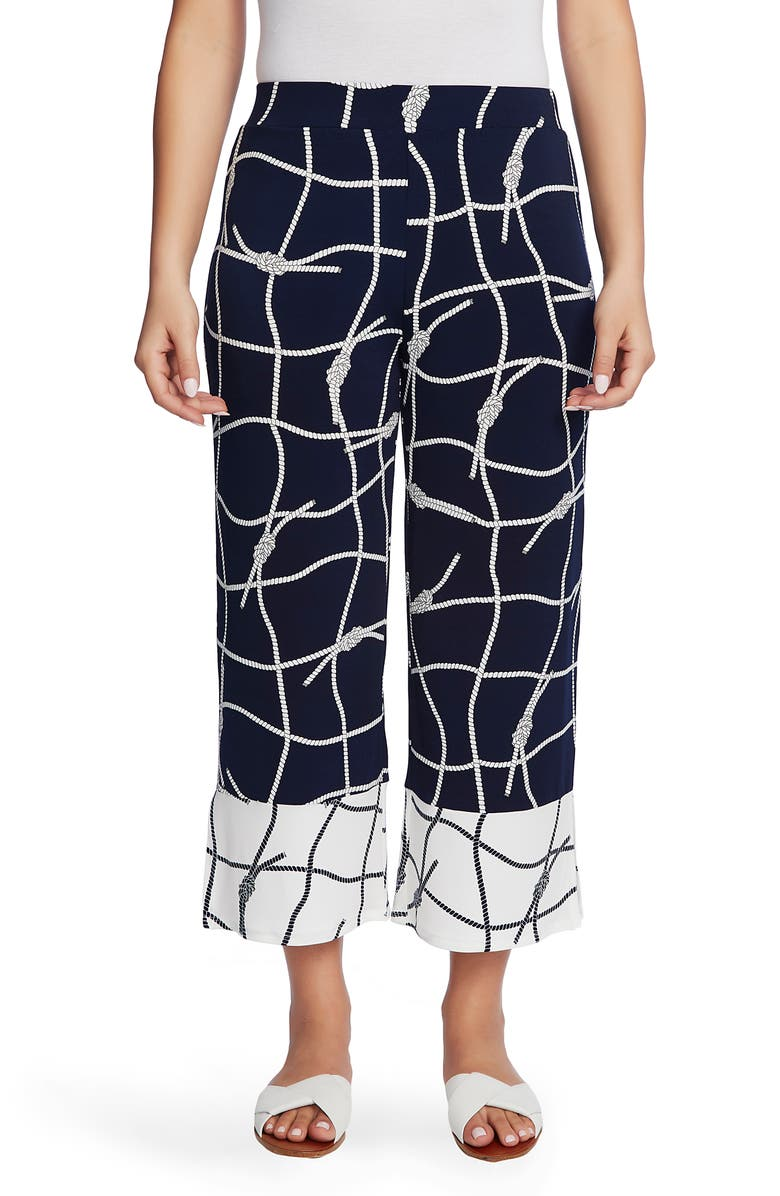 CHAUS Colorblock Nautical Ropes Crop Wide Leg Trousers, Main, color, 400