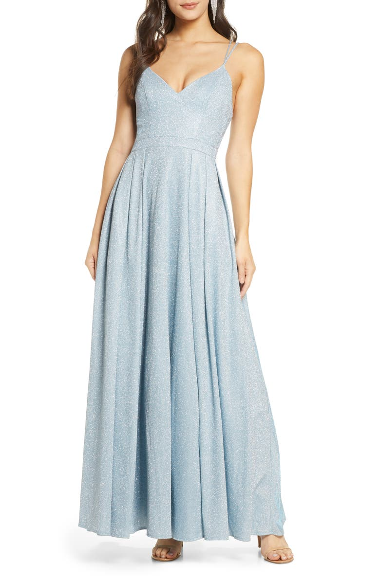 SEQUIN HEARTS Sparkle Strappy Gown, Main, color, SKY BLUE/ SILVER