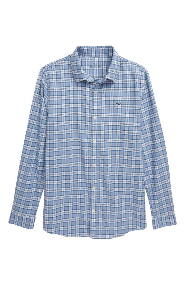 VINEYARD VINES Cades Flannel Whale Shirt, Main, color, COASTLINE