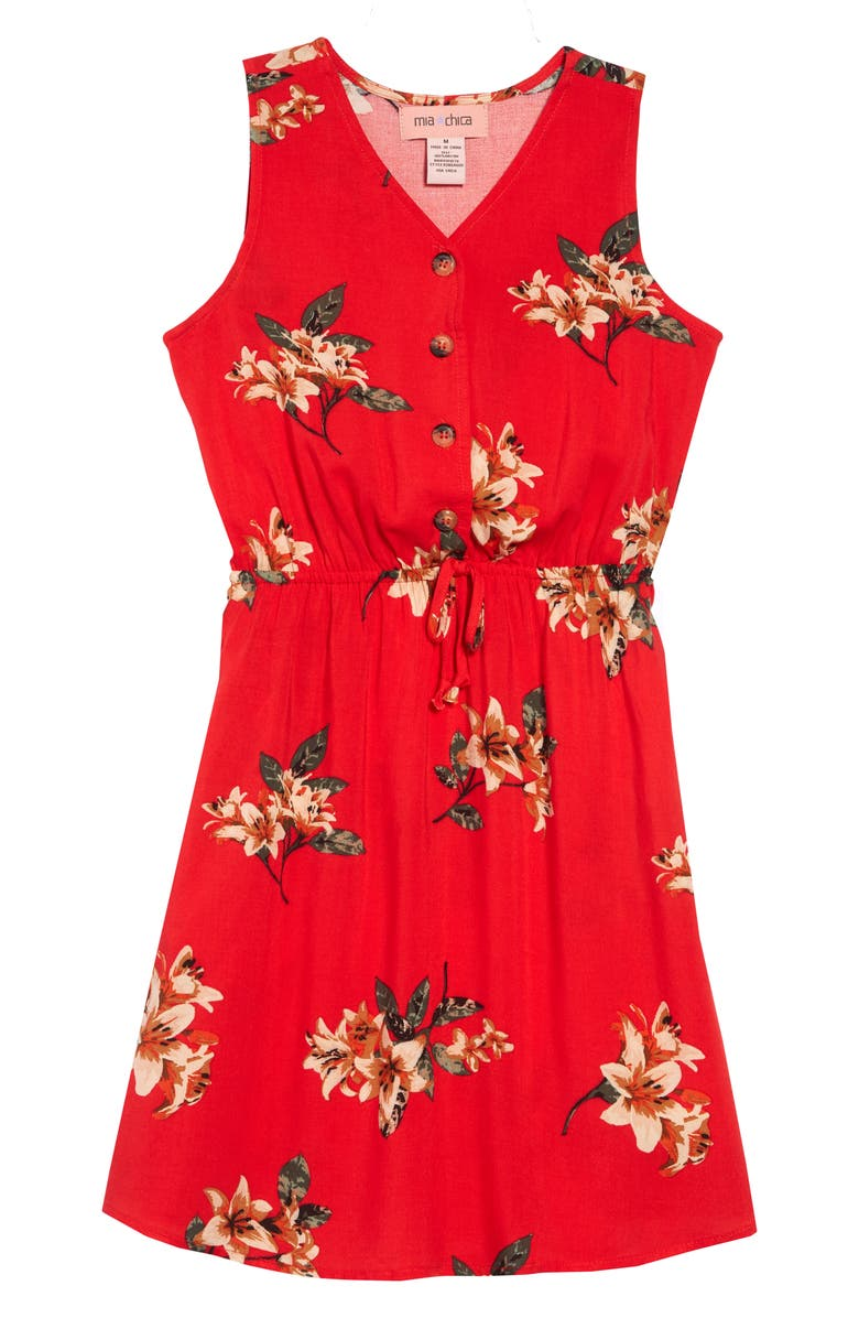 MIA CHICA Floral Print Dress, Main, color, RED FLORAL