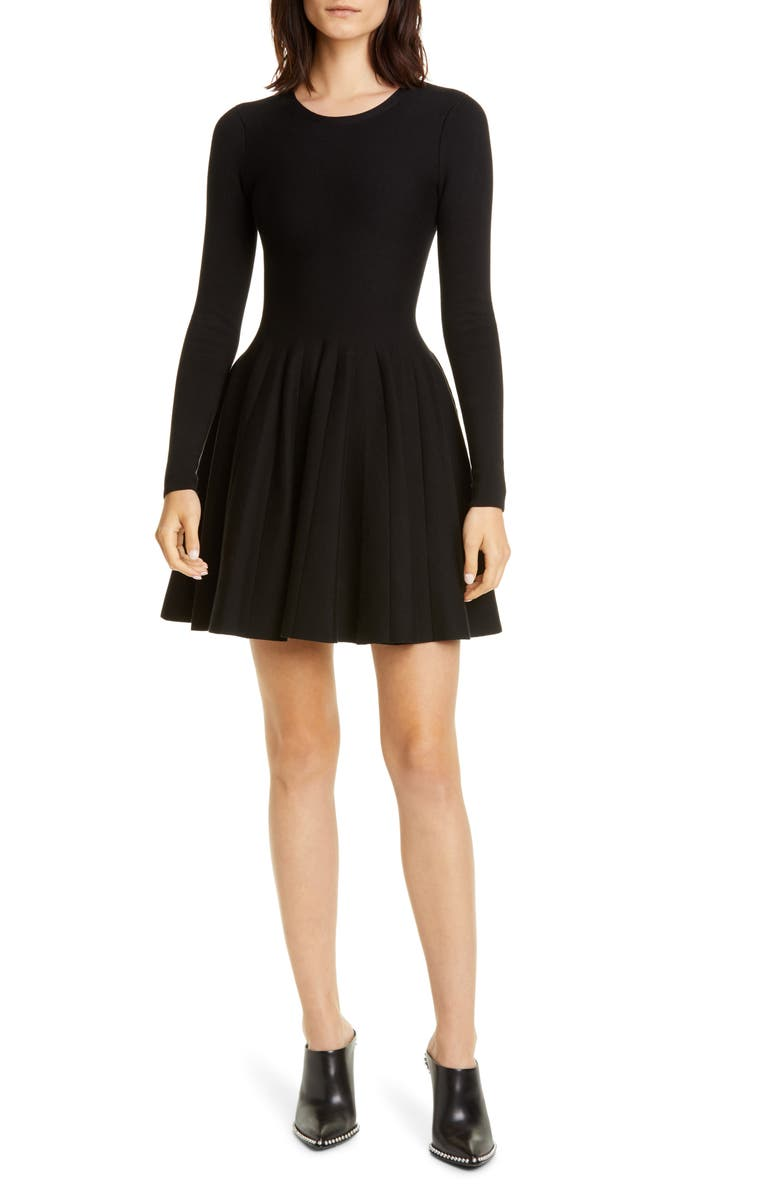 ALEXANDER WANG Long Sleeve Fit & Flare Dress, Main, color, BLACK