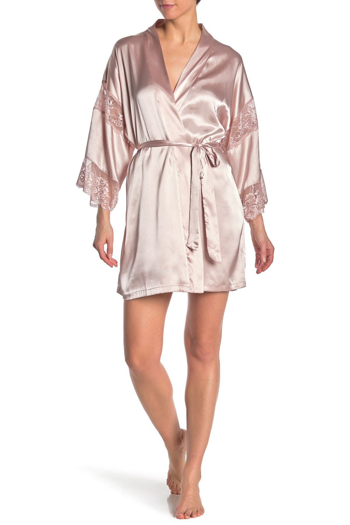 Image of In Bloom by Jonquil Lace Trim Satin Wrap Robe