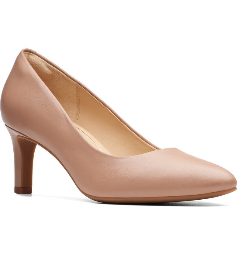 CLARKS<SUP>®</SUP> Calla Rose Pump, Main, color, PRALINE LEATHER