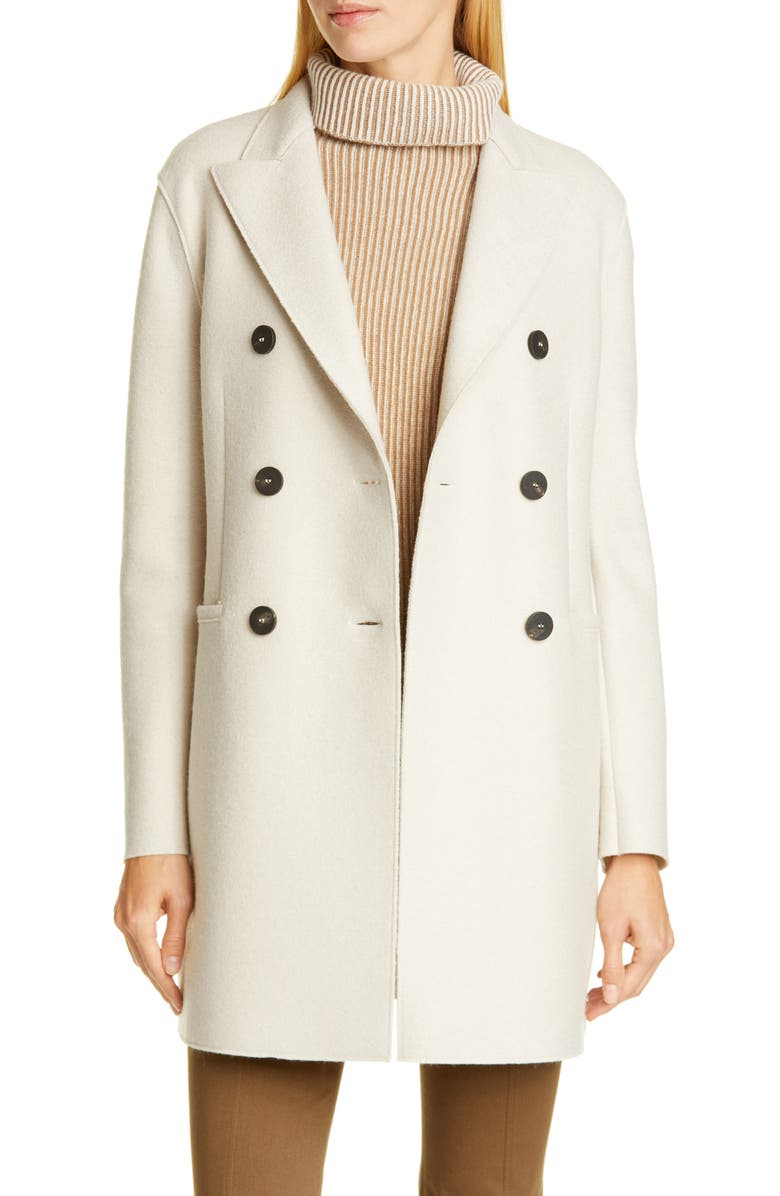 HARRIS WHARF LONDON Short Double Breasted Wool Coat, Main, color, CREAM