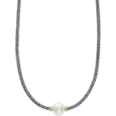 Lagos Luna Pearl Station Collar Necklace