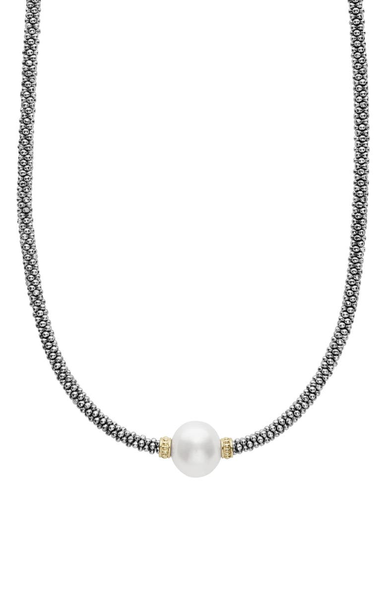 LAGOS Luna Pearl Station Collar Necklace, Main, color, SILVER/ PEARL