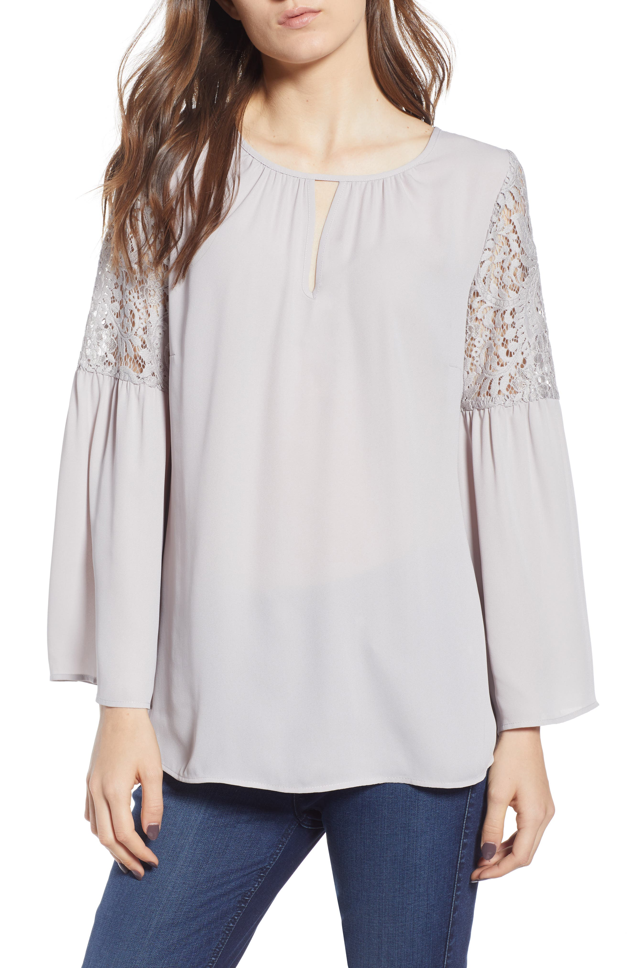 ,                             Lace Bell Sleeve Top,                             Main thumbnail 8, color,                             050