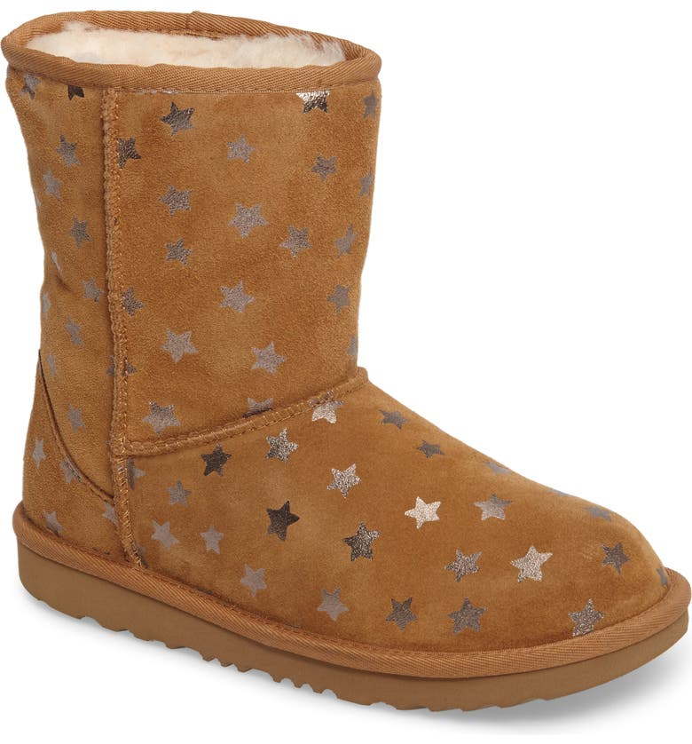 UGG<SUP>®</SUP> Classic Short II Water Resistant Stars Boot, Main, color, CHESTNUT
