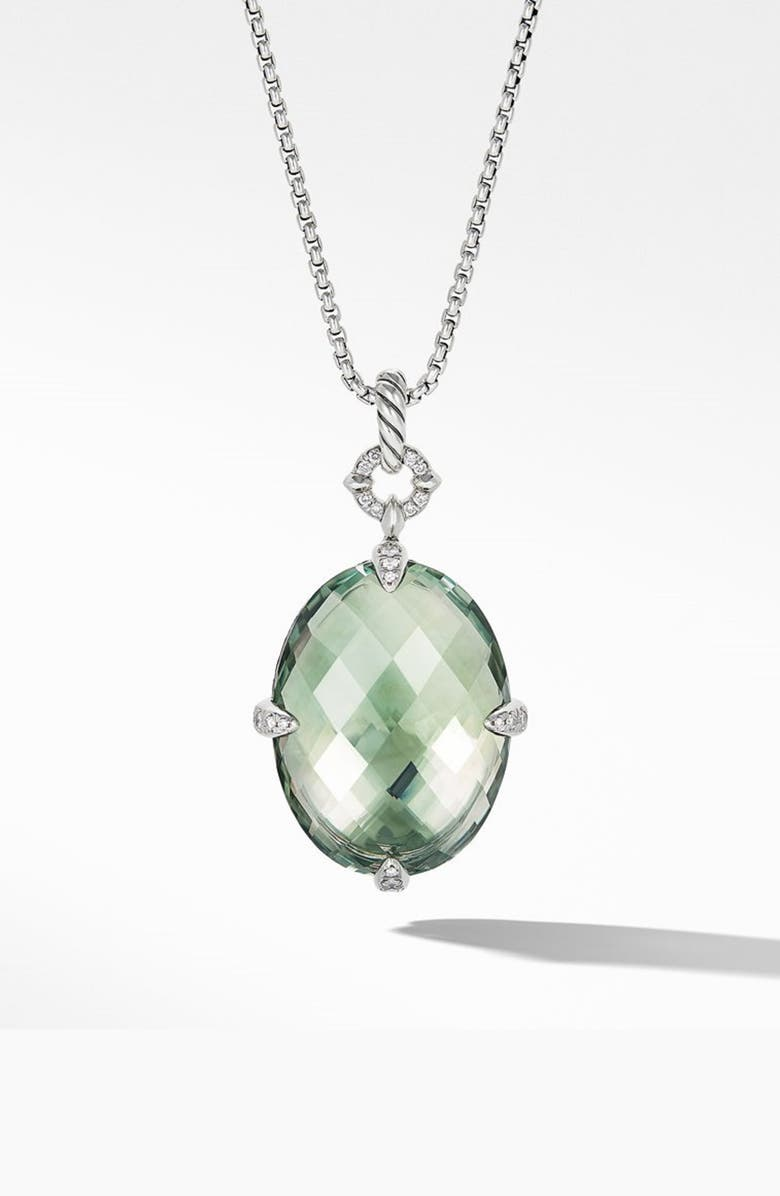 DAVID YURMAN Statement Prasiolite Pendant Necklace with Diamonds, Main, color, SILVER/ DIAMOND/ PRASIOLITE