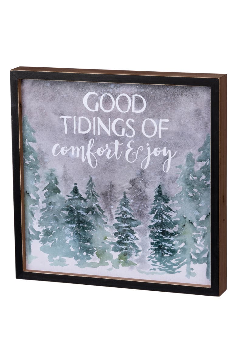 PRIMITIVES BY KATHY Good Tidings Inset Box Sign, Main, color, GREY