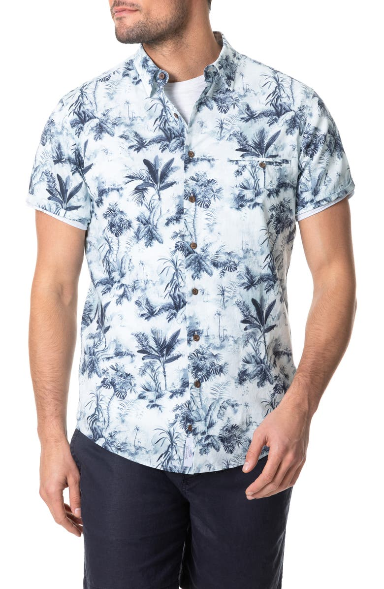 RODD & GUNN Mill Road Tropical Short Sleeve Button-Up Shirt, Main, color, IVORY