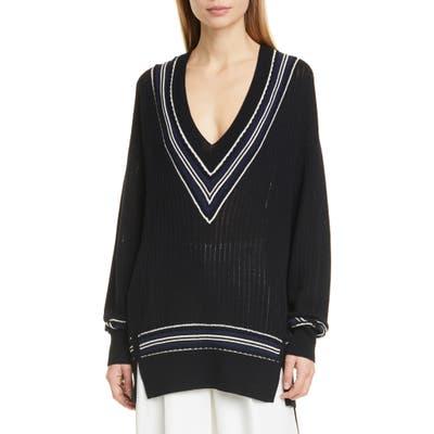 Rag & Bone Dianna Stripe Merino Wool Blend Sweater, Black