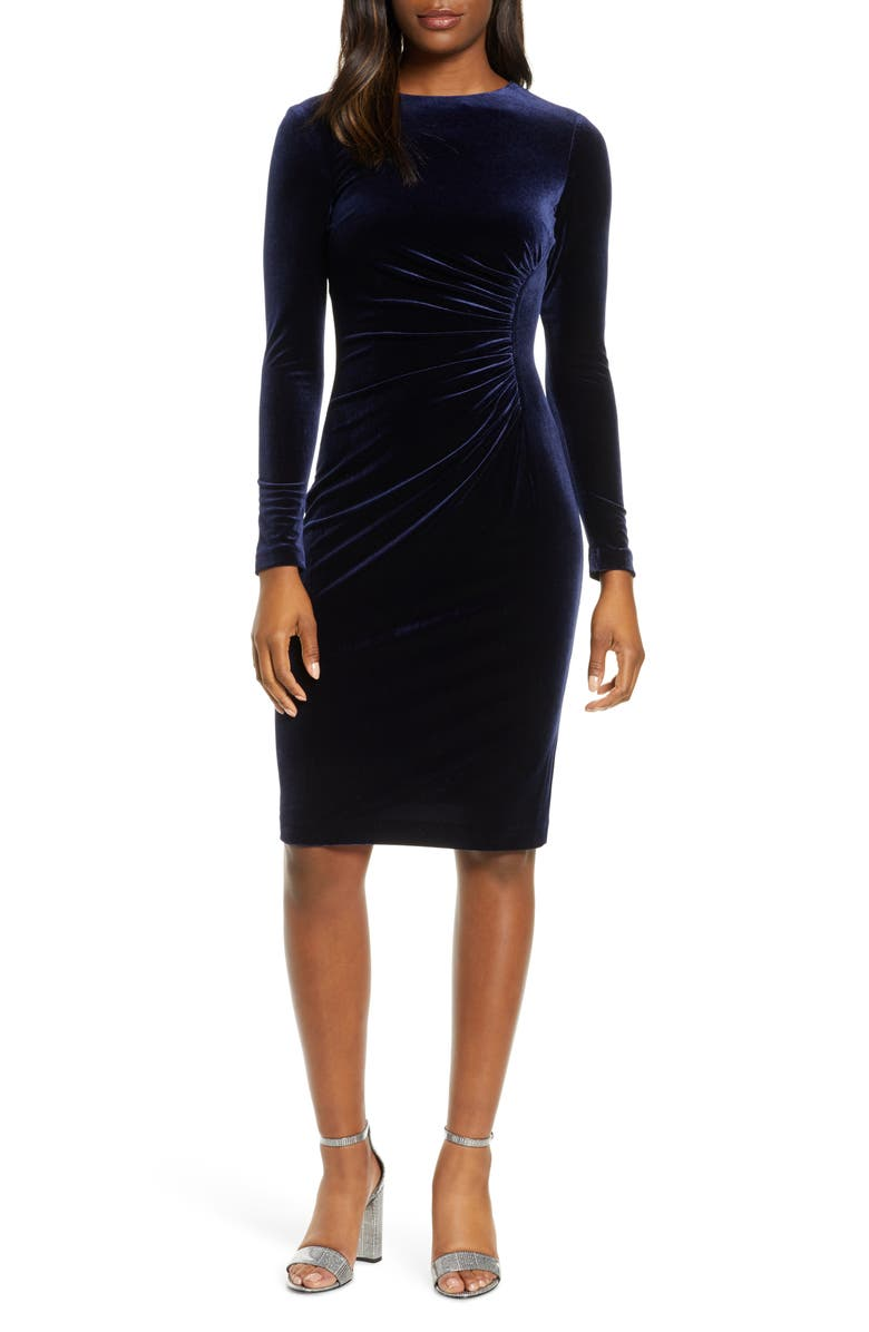 HARPER ROSE Long Sleeve Ruched Velvet Dress, Main, color, NAVY