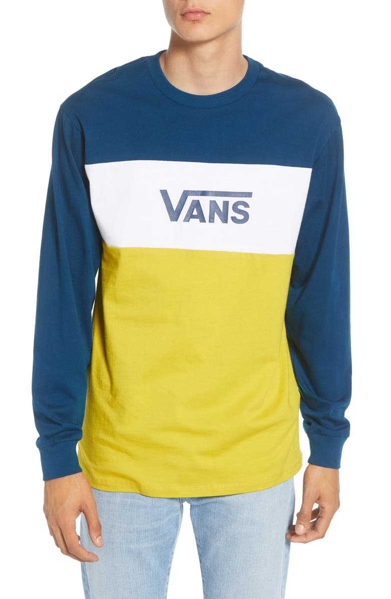 VANS Retro Active Colorblock Long Sleeve T-Shirt, Main, color, GIBRALTAR SEA/ SULPHUR
