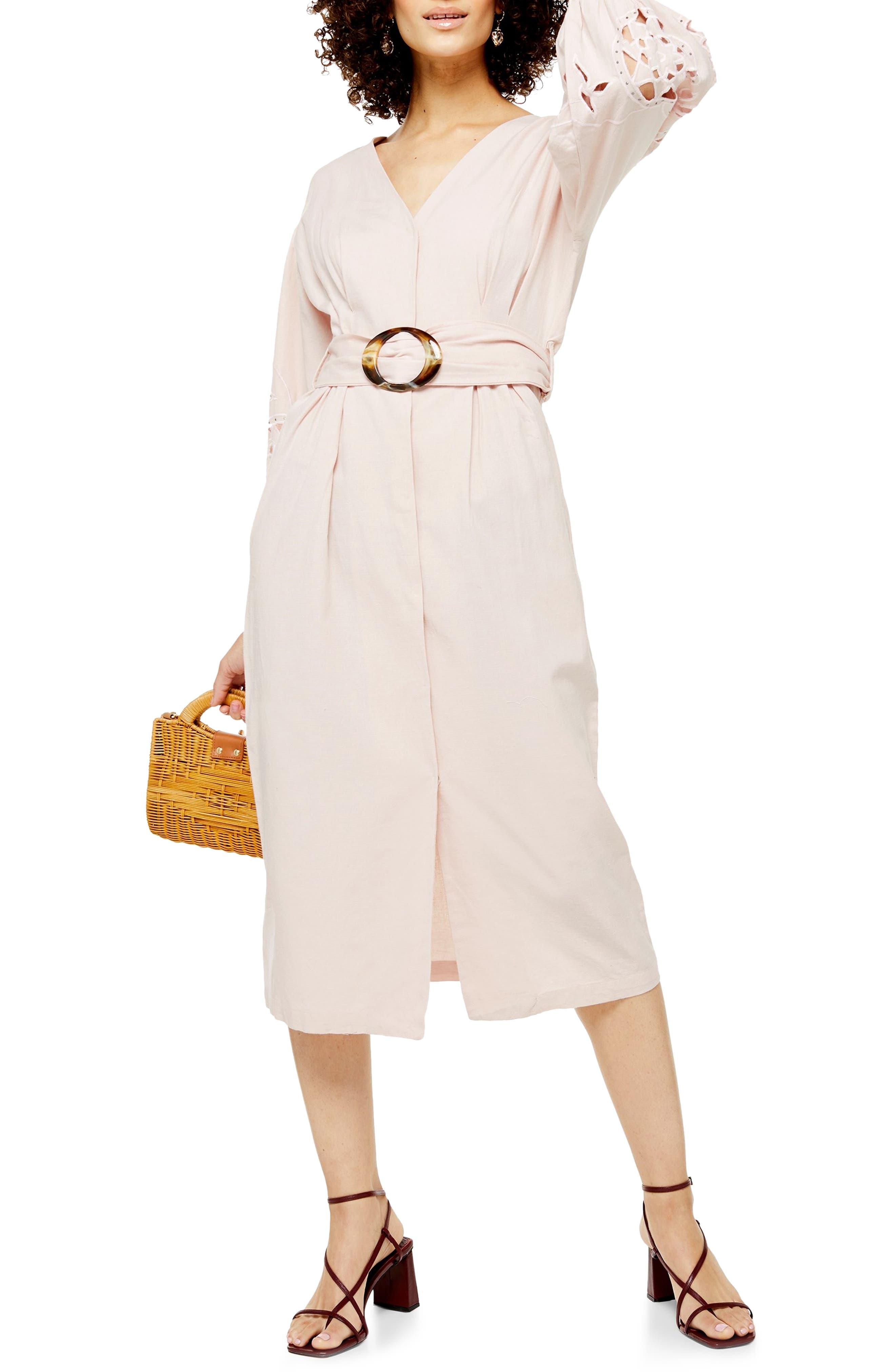 Topshop Cutwork Long Sleeve Midi Dress, US (fits like 6-8) - Pink