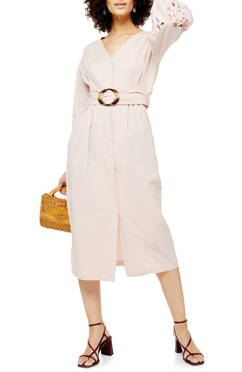 TOPSHOP Cutwork Long Sleeve Midi Dress, Main, color, BLUSH