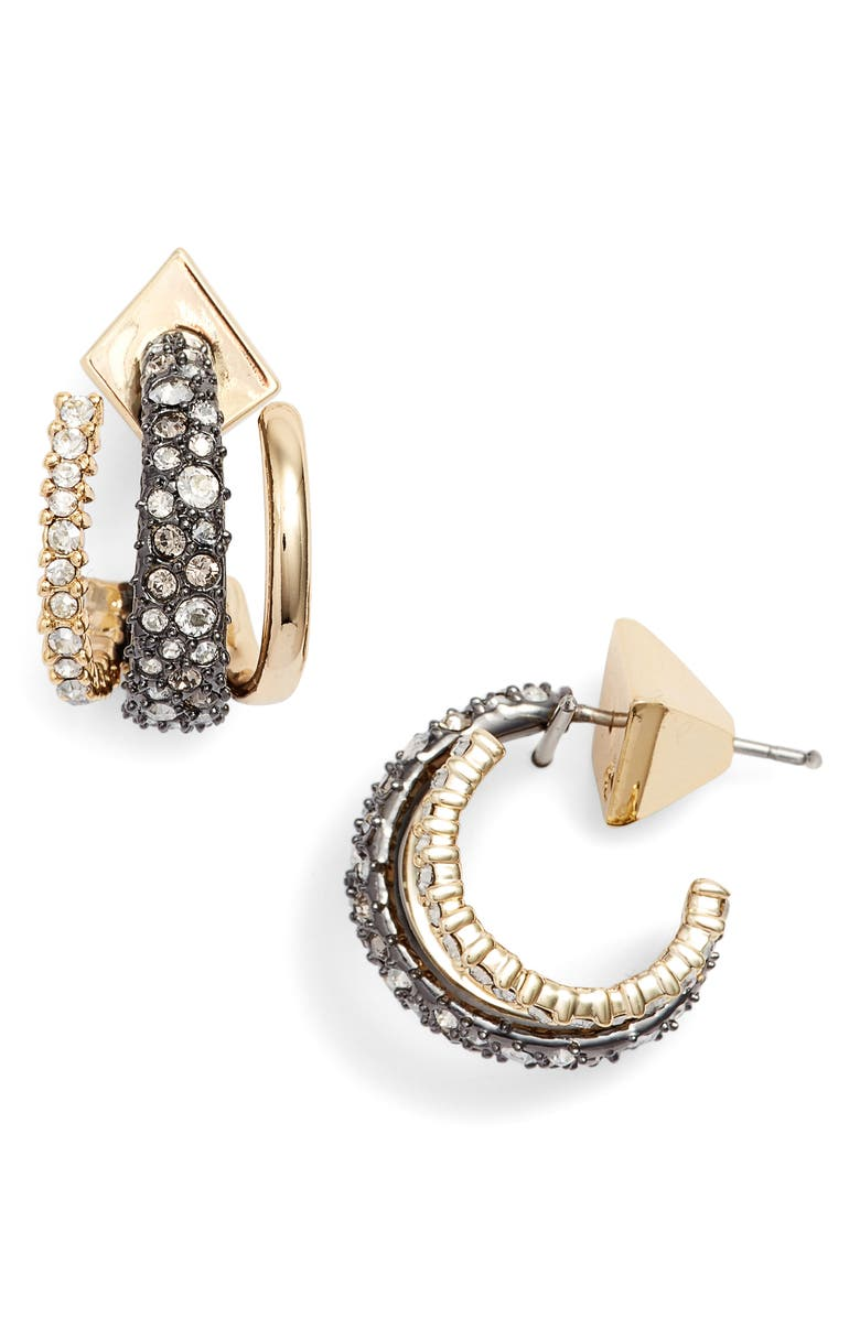 ALEXIS BITTAR Floating Orbit Hoop Earrings, Main, color, GOLD