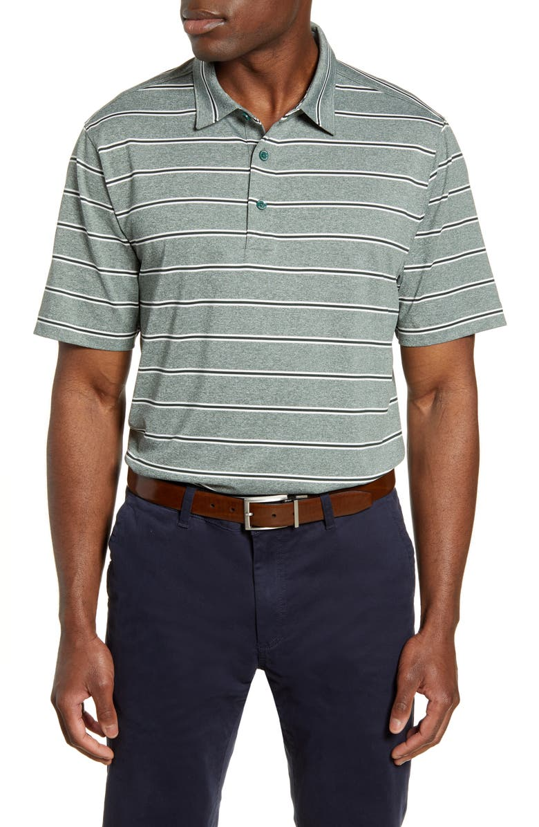 CUTTER & BUCK Forge Stripe Jersey Polo, Main, color, HUNTER