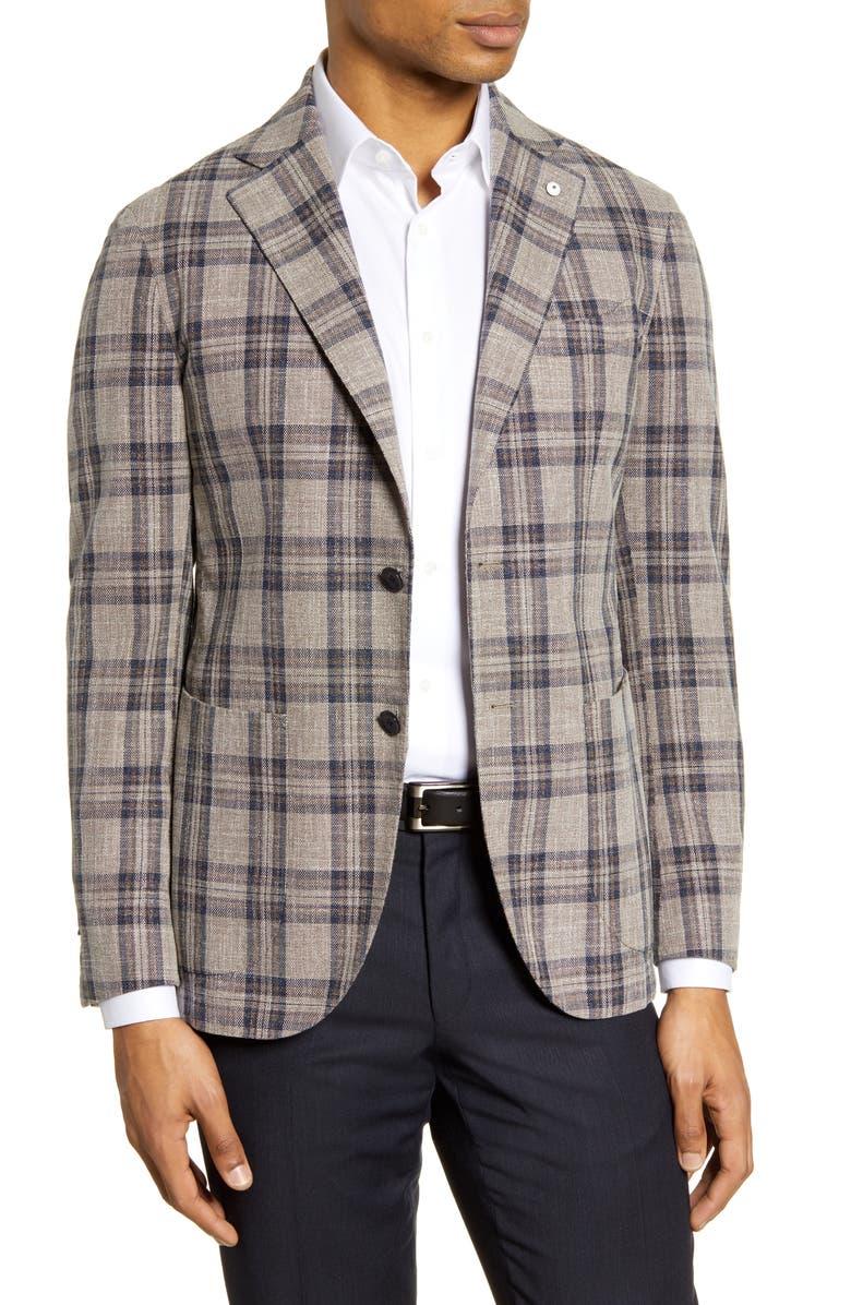 L.B.M. 1911 Trim Fit Plaid Cotton Sport Coat, Main, color, LIGHT/ PASTEL BROWN