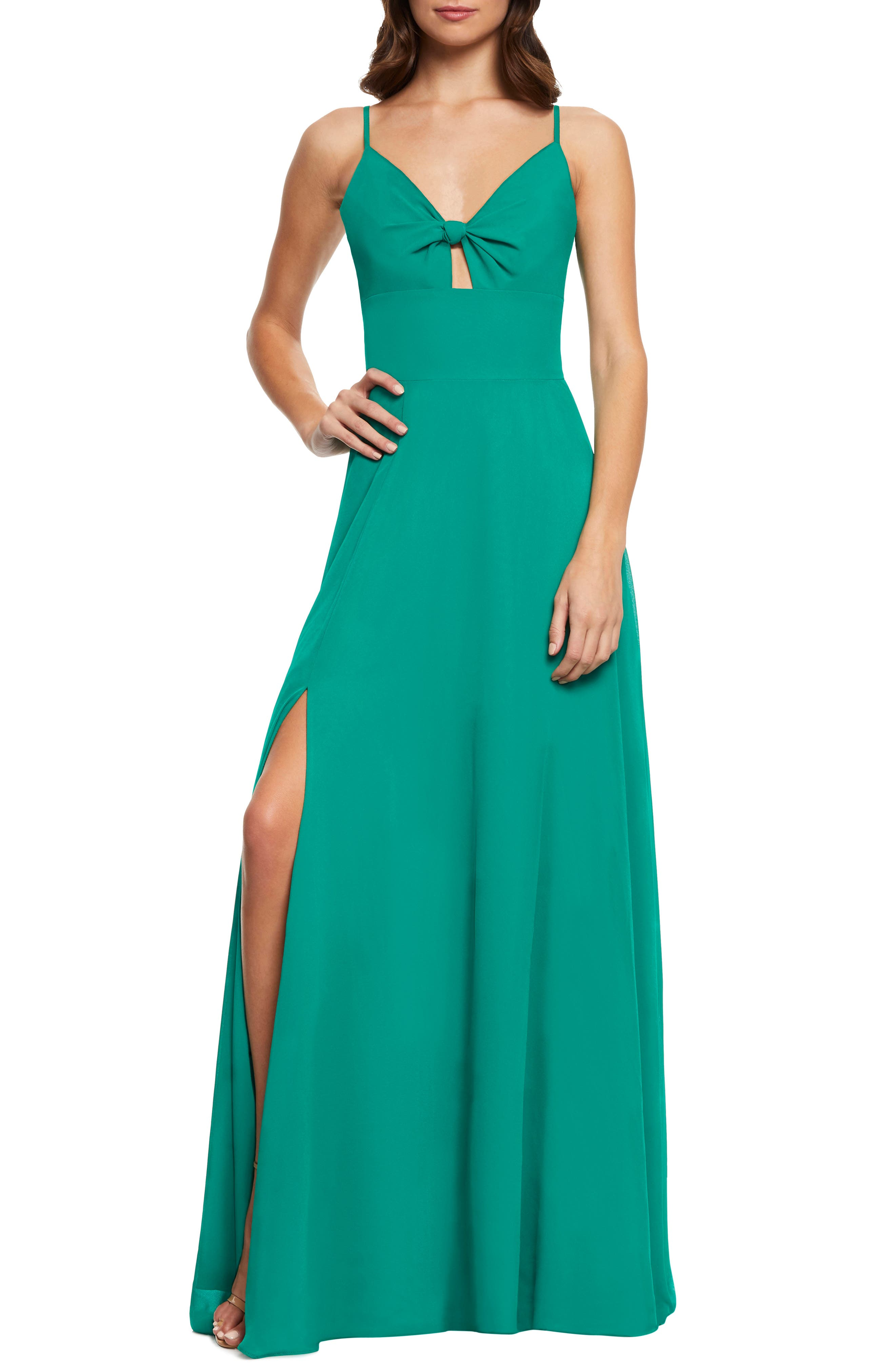 Dress The Population Cambria Tie Bodice Evening Dress, Green