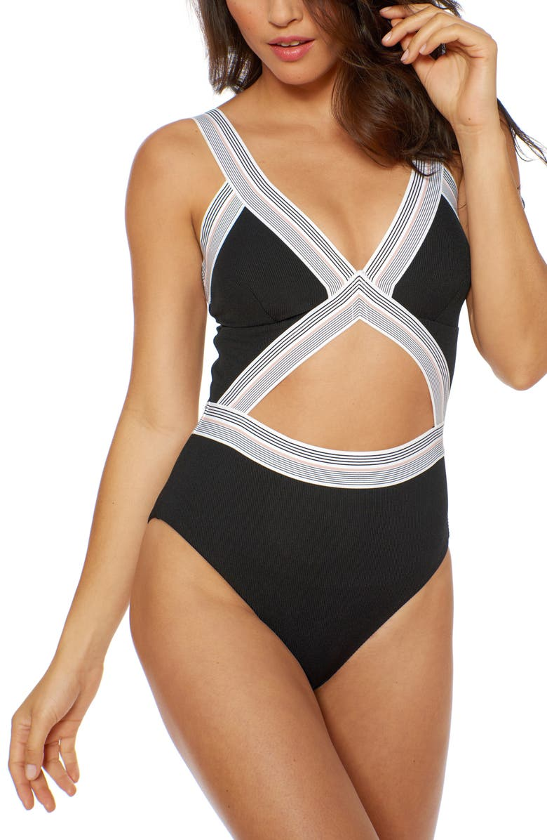 DOLCE VITA Blair One-Piece Swimsuit, Main, color, BLACK