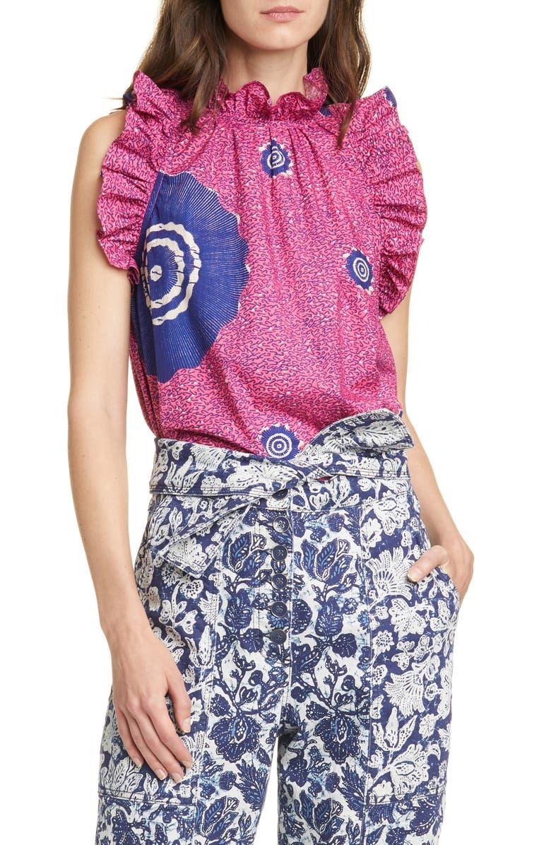 ULLA JOHNSON Tilda Print Ruffle Trim Cotton Top, Main, color, FUCHSIA