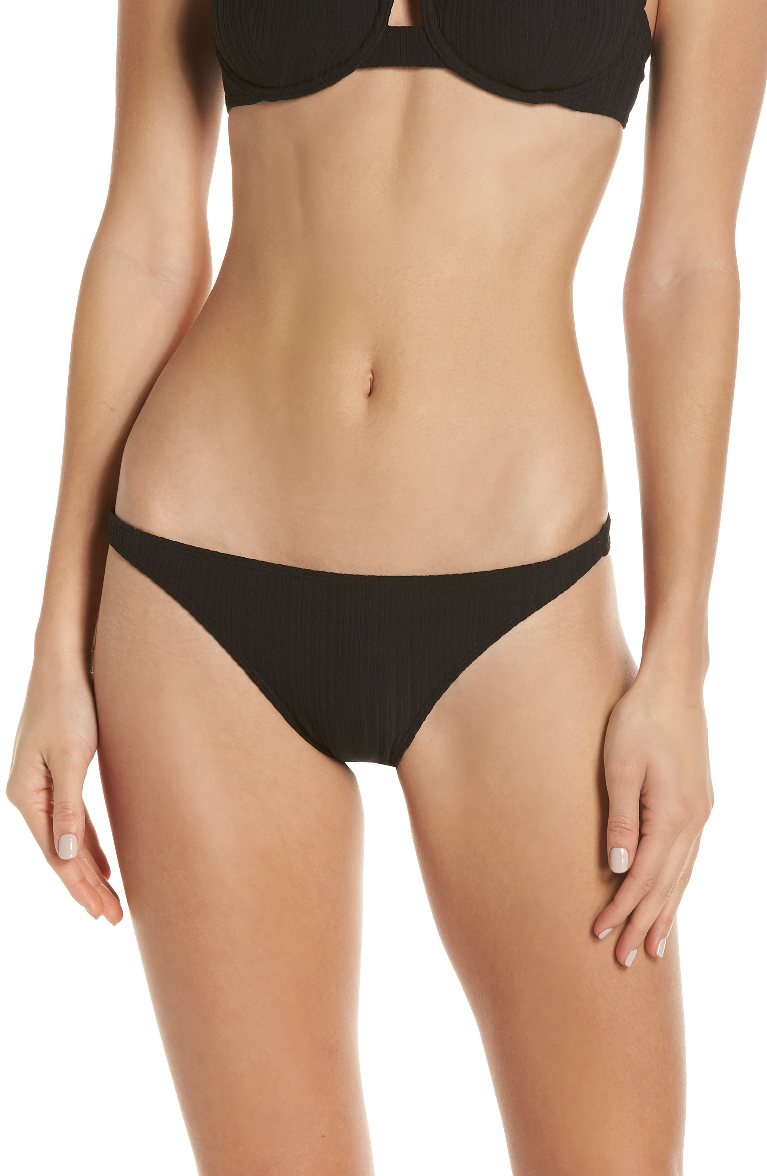 Onia Ashley Ribbed Hipster Bikini Bottoms, Black
